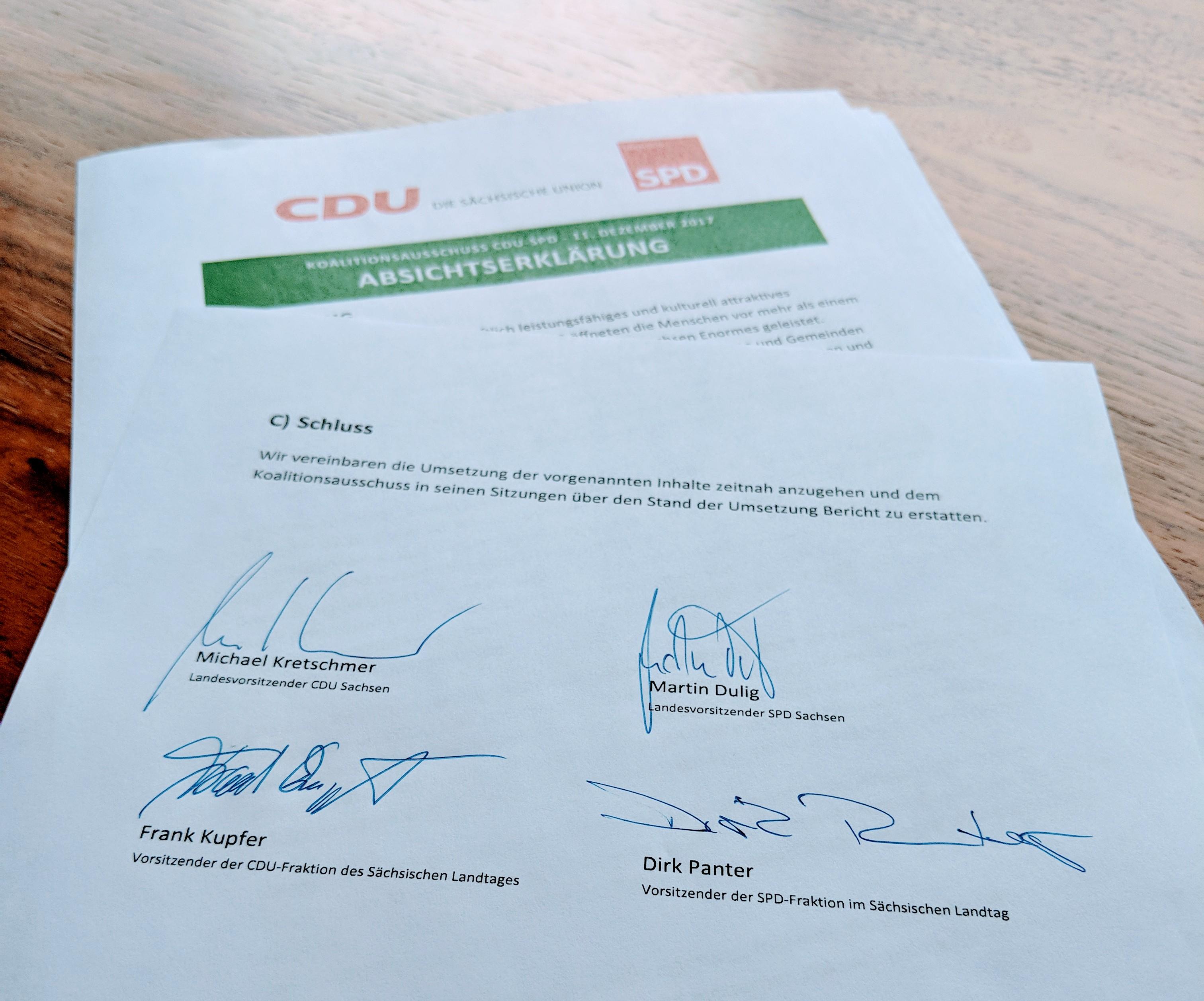 Absichtserklärung von CDU und SPD - SPD Sachsen