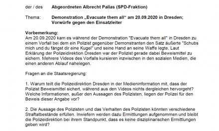 Pallas stellt Kleine Anfrage zu Polizeieinsatz