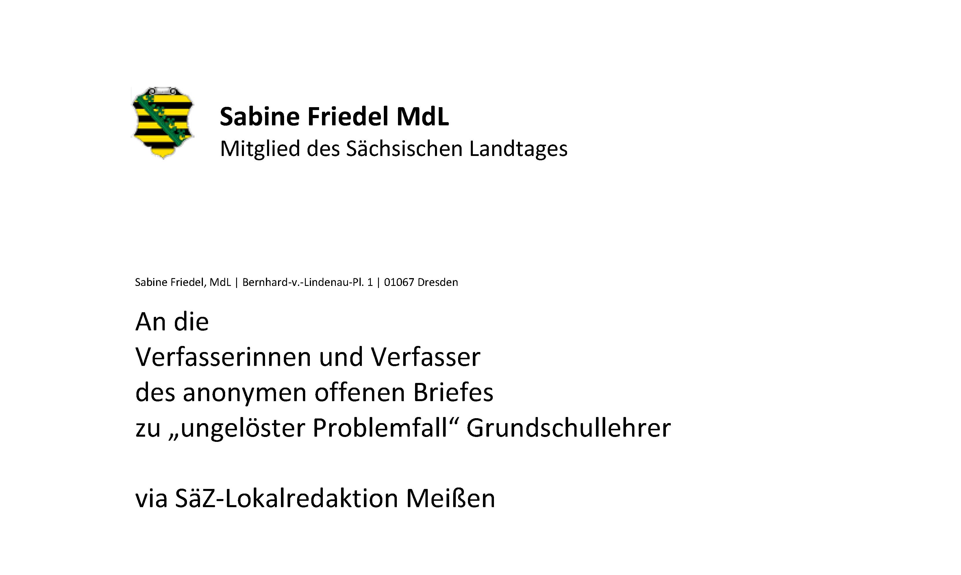 """Antwort auf den Offenen Brief zu """"ungelöster Problemfall"""" Grundschullehrer"""