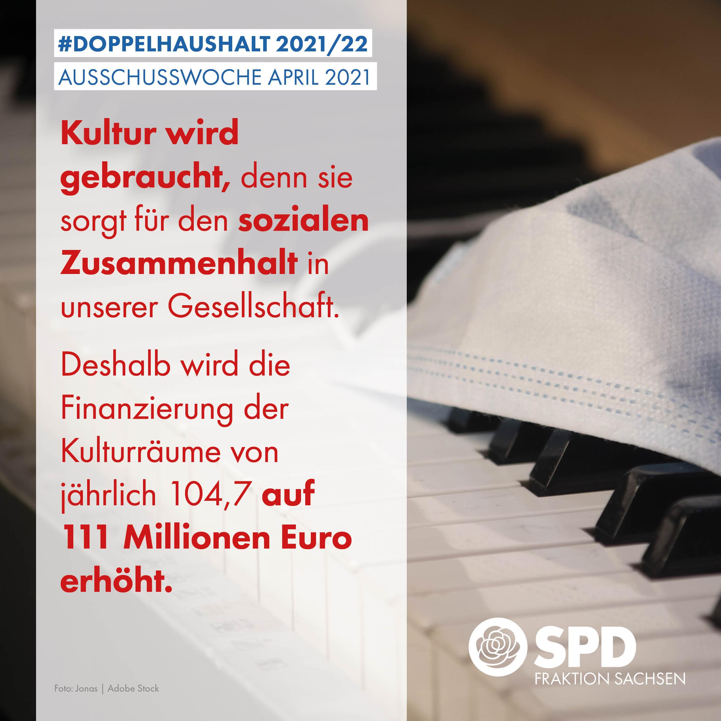 Kultur wird gebraucht, denn sie sorgt für den sozialen Zusammenhalt in unserer Gesellschaft. Deshalb wird die Finanzierung der Kulturräume von jährlich 104,7 auf 111 Millionen Euro erhöht.