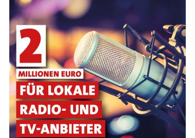2 Millionen Euro für lokale Radio- und TV-Anbieter