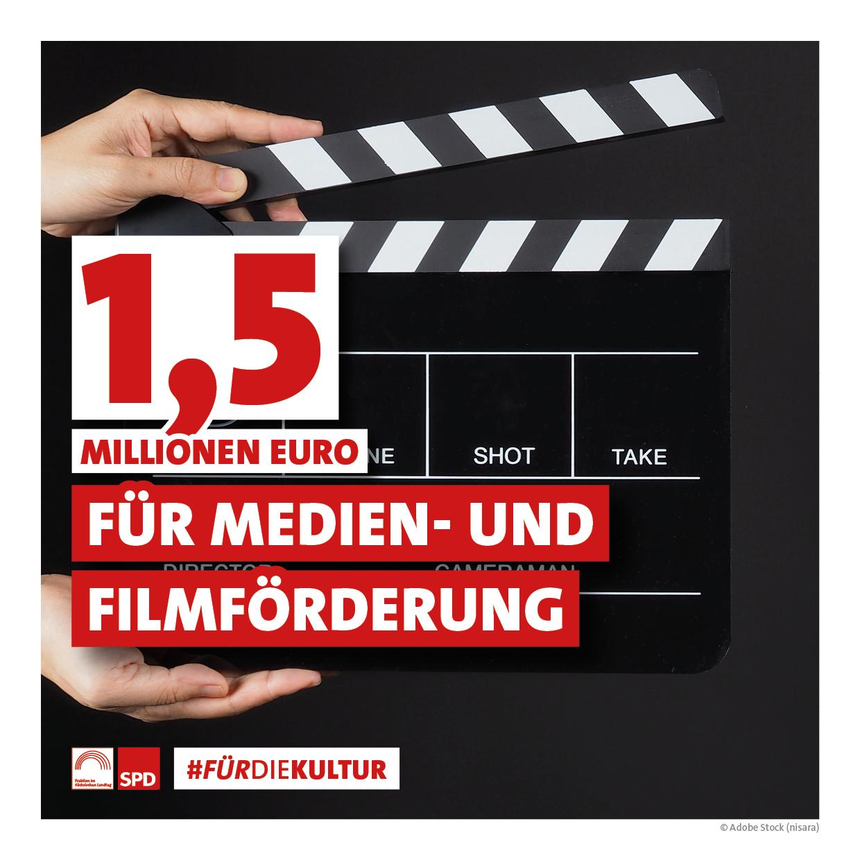 1,5 Millionen Euro für Medien- und Filmförderung