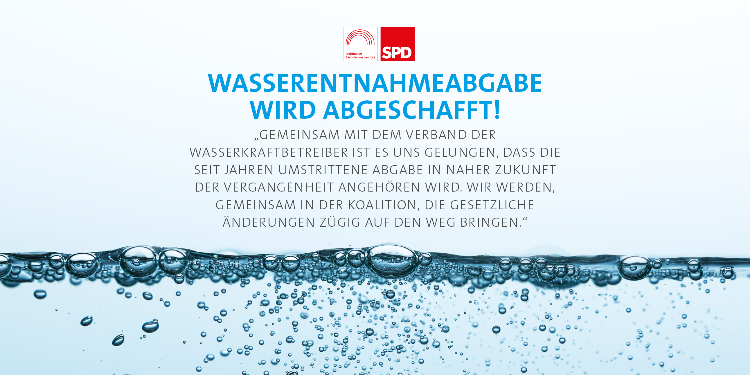 Wasserentnahmeabgabe wird abgeschafft